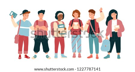 Funny joyful children or pupil isolated on white background. Happy school boys and girls or teenagers, classmates or friends standing together. Colorful vector illustration in flat cartoon style.