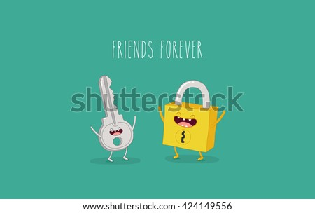 funny key and lock friends