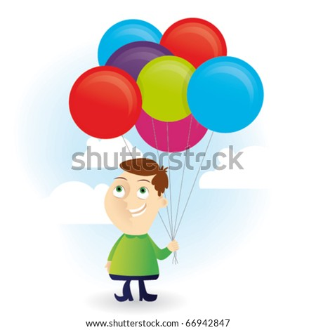 Funny kid with many balloons