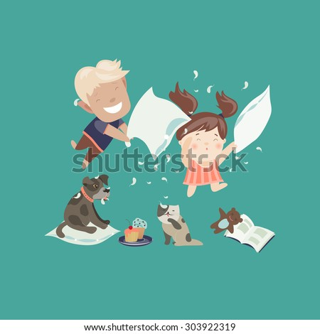funny kids having a pillow