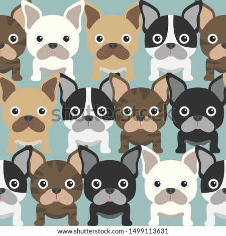 funny kids pattern with pugs