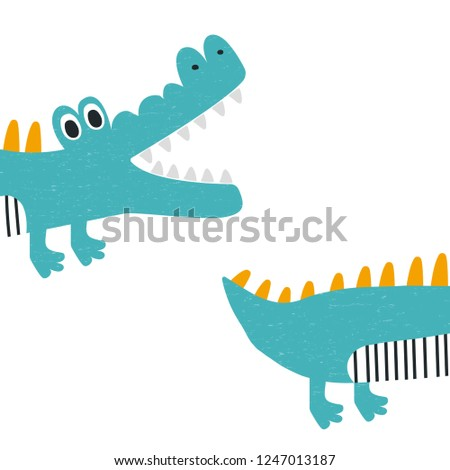 funny kids print with crocodile