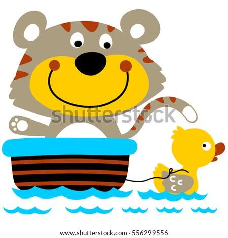 Stock Photo funny kitten cartoon on bathtub with little duck