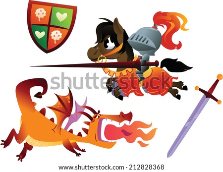 funny knight riding a horse and