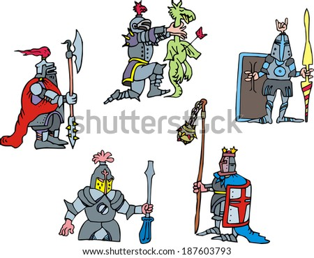 funny knights set of vector