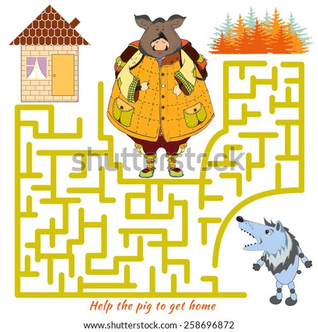 funny labyrinth help the pig