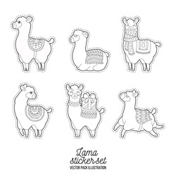 Funny lama adult illustration. Cute llama and alpaca for adult coloring pages.  Patches lama character vector doodle illustration.