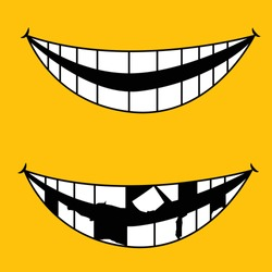 funny laughing smile and broken teeth vector. best to be used by dentists for dental presentations of anyone with before and after concept.
