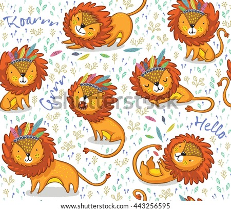 funny lions seamless vector