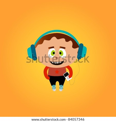 Funny little boy listening to a music