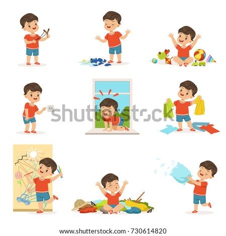 Funny little boy playing games and making mess