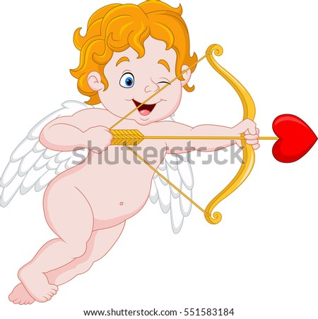 funny little cupid aiming at
