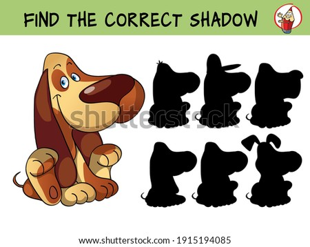Funny little dog. Basset hound. Find the correct shadow. Educational matching game for children. Cartoon vector illustration Сток-фото ©