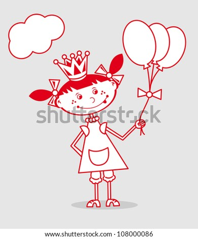 funny little girl in princess dress playing with balloons