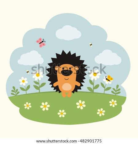 funny little hedgehog on flower