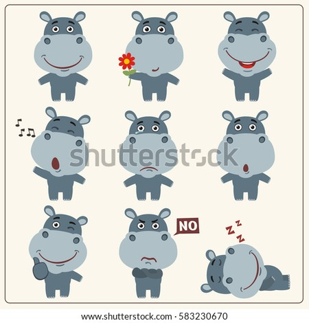 Funny little hippo set in different poses. Collection isolated hippo in cartoon style.