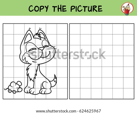 Funny little kitten with a toy mouse. Copy the picture. Coloring book. Educational game for children. Cartoon vector illustration