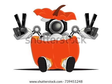 funny little robot in pumpkin
