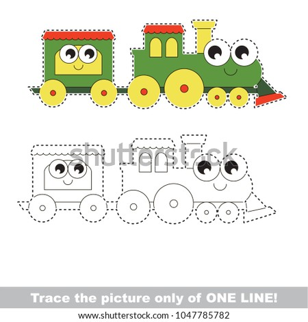 Funny Locomotive to be traced only of one line, the tracing educational game to preschool kids with easy game level, the colorful and colorless version.