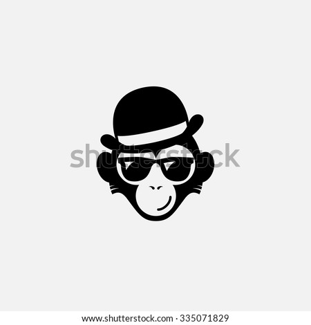 Funny logo design template with monkey in glasses and  hat. Vector illustration.