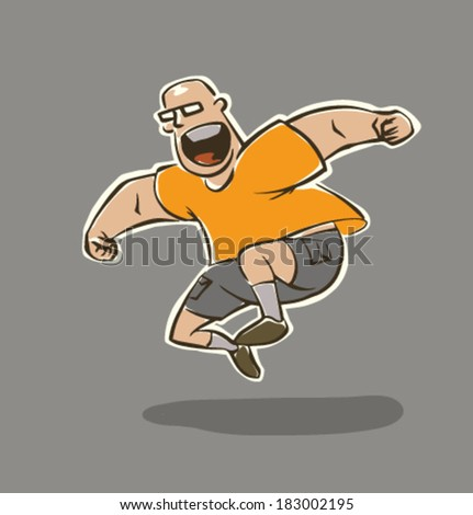 Funny man does sport exercises, vector