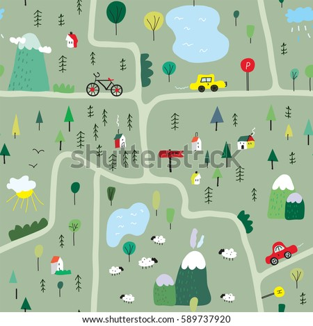 funny map seamless pattern with