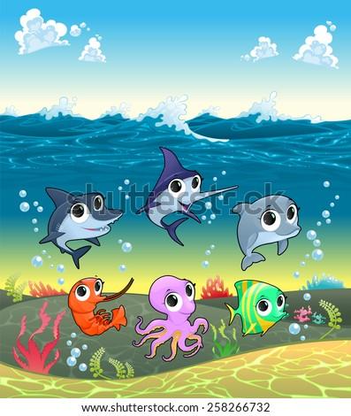 funny marine animals on the