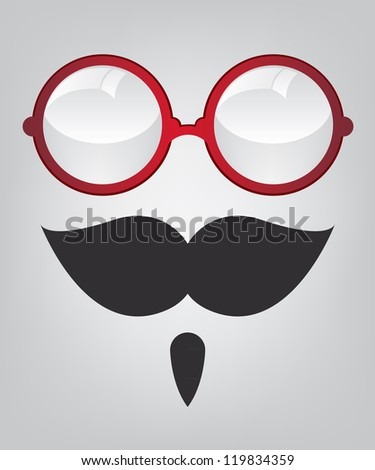 Funny mask red sunglasses and mustache