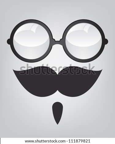 Funny mask retro sunglasses and mustache