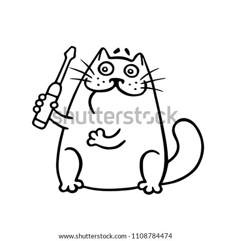 funny master cat and
