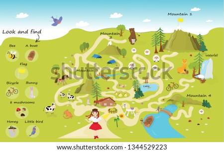 Funny maze for children. Help the girl on a trip to the mountains. Mini games collection. The maze puzzle game template illustration. Look and find objects. #1344529223