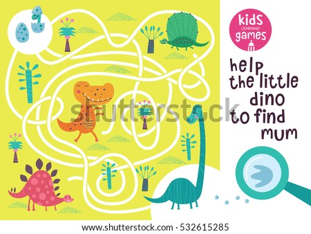 Funny maze for children. Help the little dino to find mum. Kids learning games collection.