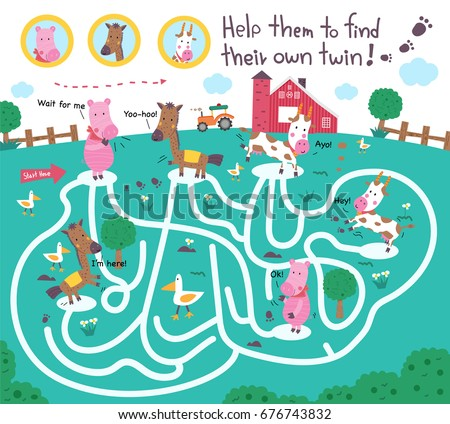funny maze puzzle for kids