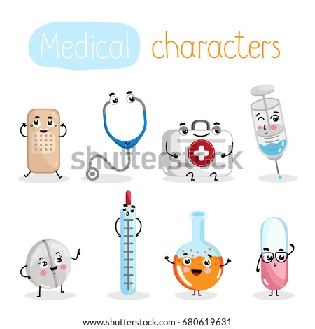 Funny medicine equipment cartoon characters. Thermometer, syringe, tablet, test tube, stethoscope, plaster, first aid kit, pill isolated vector illustration. Cute medical treatment instrument icons.