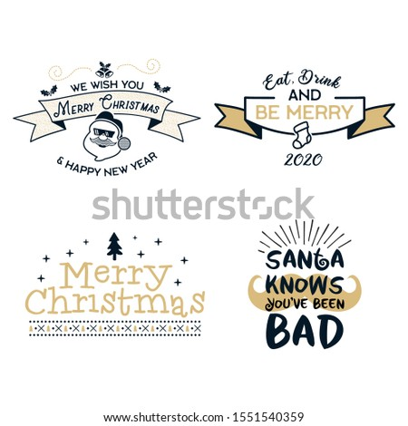 Funny Merry Christmas graphic prints set, t shirt designs for xmas party. Holiday decor with xmas tree, santa, texts and ornaments. Fun typography. Stock vector
