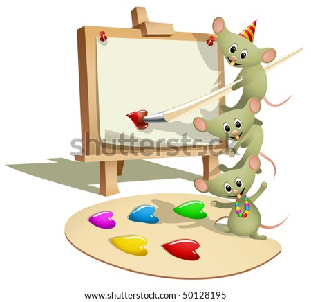 Funny Mice Teaching How to Paint (vector). Can be used as valentines card