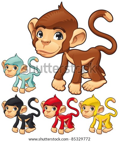 Funny monkey. Cartoon and vector isolated character - stock vector