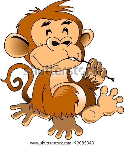 Funny Monkey Cleans Teeth Stick Vector Illustration Stock