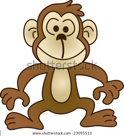 Funny monkey - vector illustration. Fully editable, easy color change ...
