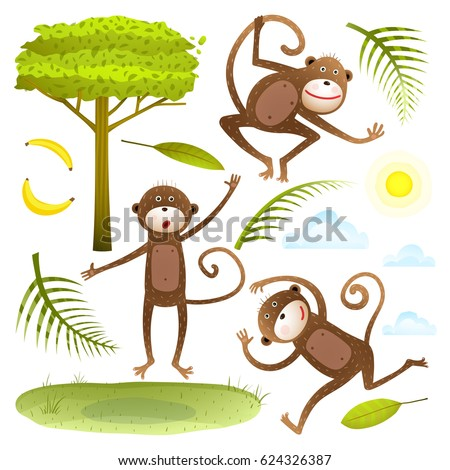 funny monkeys friends with tree