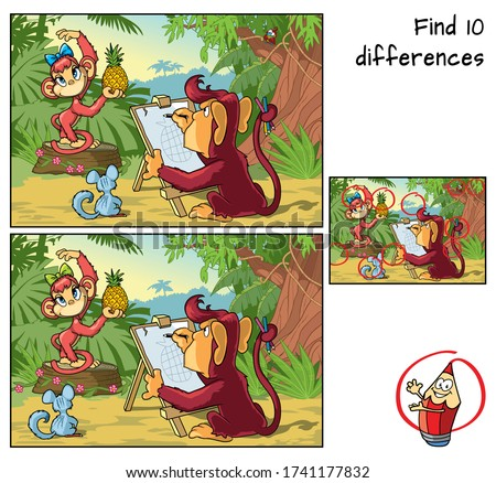 Funny monkeys in the jungle. Find 10 differences. Educational game for children. Cartoon vector illustration