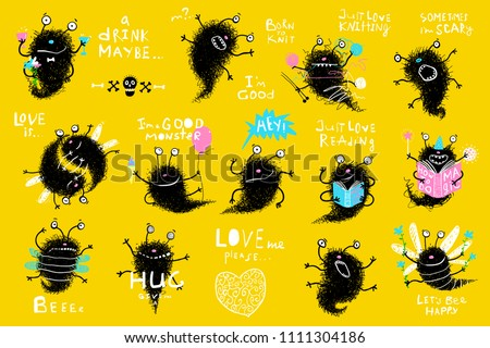 Funny Monster Actions Big Bundle Clip Art. Collection of cute kids hand drawn monsters designer clip art. Vector cartoon.