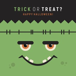Funny monster face. Frankenstein vector illustration. Happy Halloween poster. Trick or treat. Holiday art. Cute zombie face