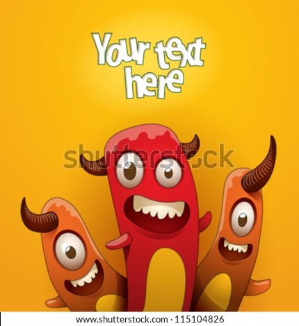 Funny monsters background 08, vector