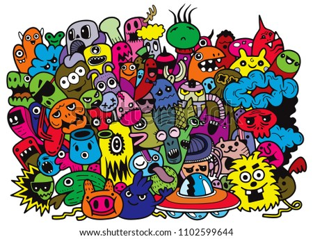 Funny monsters pattern for coloring book.white background. Vector illustration,colorful