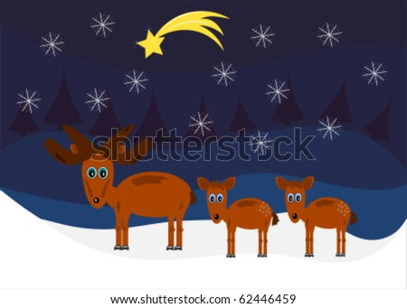 Funny Moose family vector Christmas card