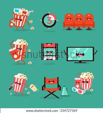 funny movie icons set