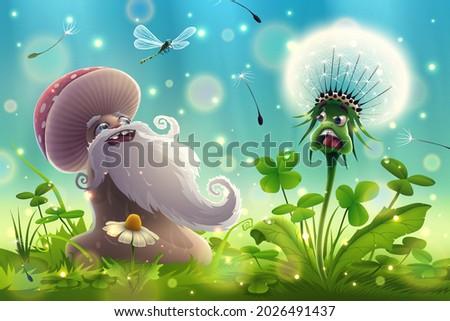 funny mushroom blowing on a