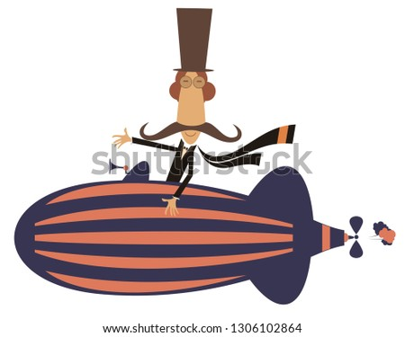 Funny mustache man on the airship illustration. Cartoon mustache man flies on the airship isolated on white illustration