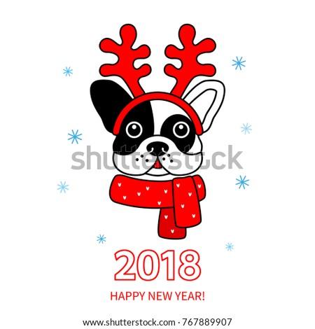 Digital art illustration of christmas deer in Santa\'s hat and red ...